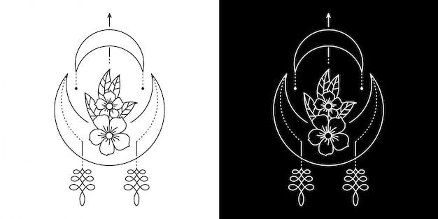 幾何学的な花のイラスト Premiumベクター