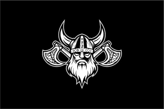 Черно-белый викинг вектор Premium векторы