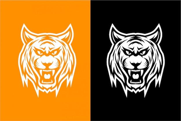 黒と白の虎の頭 Premiumベクター