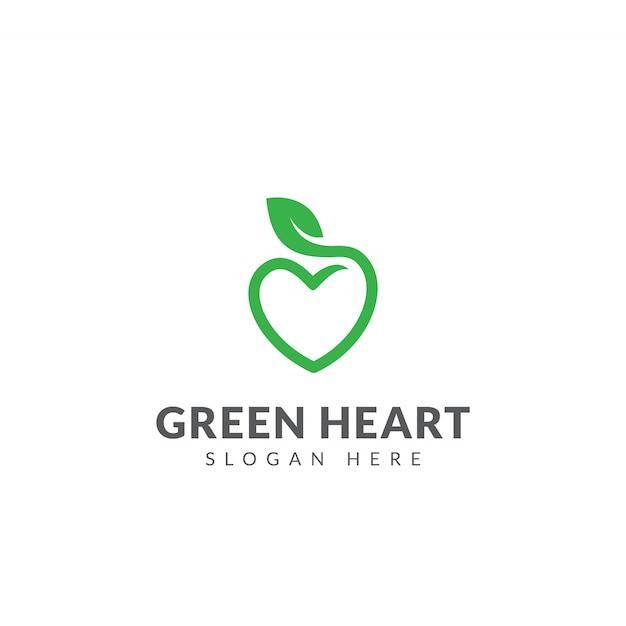 グリーンハートロゴベクターデザインテンプレート、ハートの形と葉 Premiumベクター
