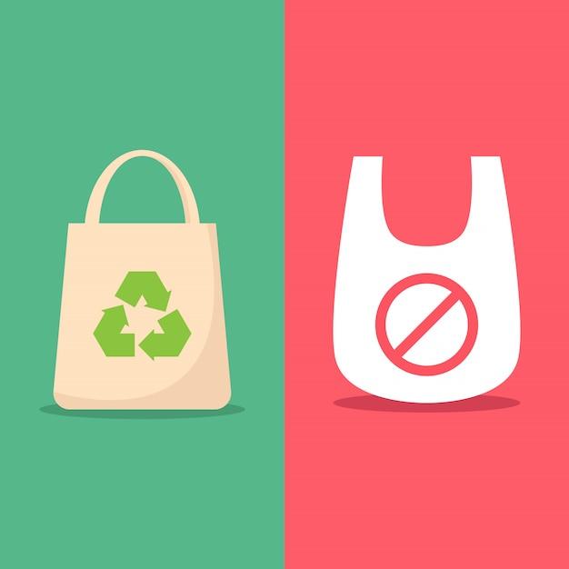 環境に優しいバッグを使う Premiumベクター