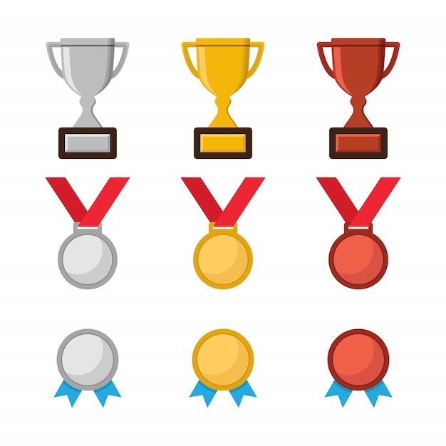 Трофей чемпионата, значок медаль чемпиона Premium векторы