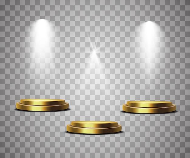 シーン照明、透明効果。スポットライトで明るい照明。 Premiumベクター