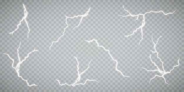 Набор молний. гроза и молнии. волшебные и яркие световые эффекты. иллюстрация Premium векторы