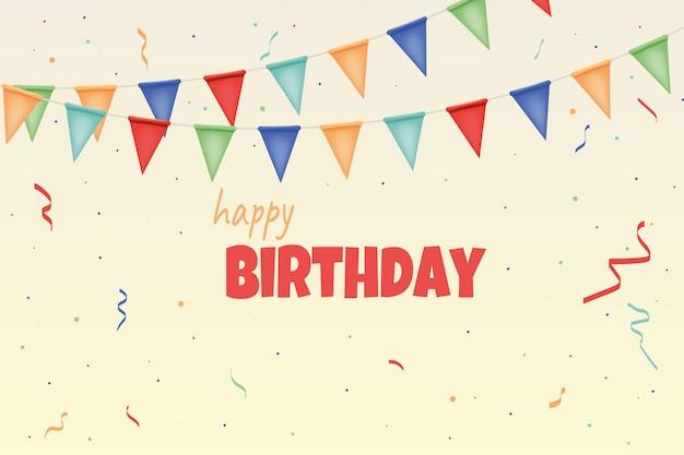 С днем рождения карта с красочными бумажные гирлянды и конфетти. Premium векторы