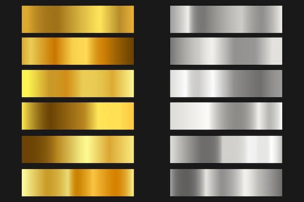 金、銀のテクスチャ背景のセット。光沢のあるメタリックグラデーションコレクション Premiumベクター