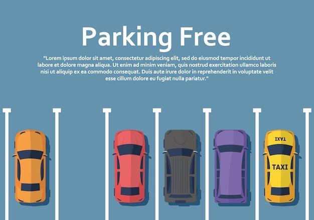 Автомобили стоят на парковке, вид сверху. Premium векторы