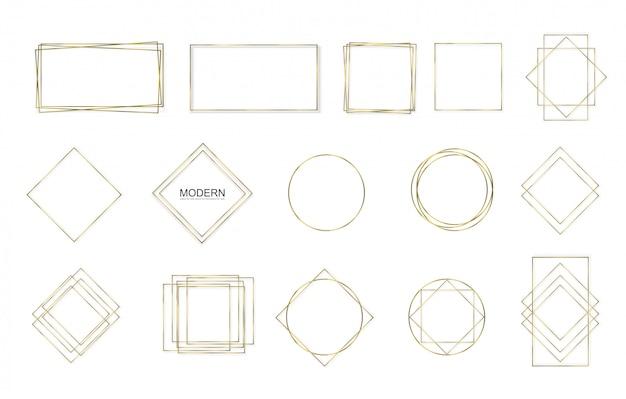 Золотой квадрат, круглая, овальная рамка со световыми эффектами. Premium векторы