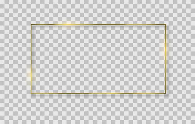 ライト効果のある黄金の正方形、円形、楕円形のフレーム。 Premiumベクター