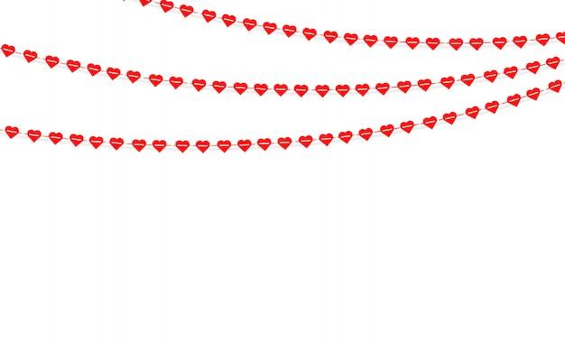 ハンギングハートのガーランド。ラブロマンスバレンタインデー Premiumベクター