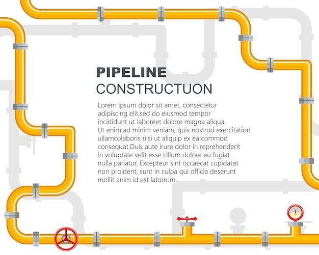 Трубопровод промышленный. рычаг открывает или закрывает клапан. Premium векторы