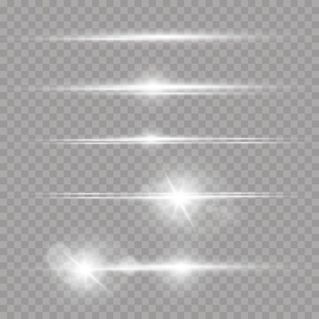 Лазерные лучи, горизонтальные лучи света набор белых бликов Premium векторы