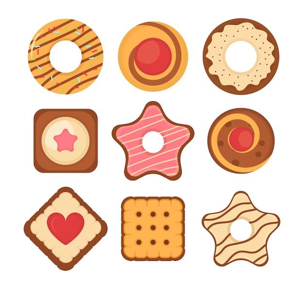 Набор различных шоколадные и бисквитные печенья, пряники и вафли, изолированные на белом фоне. набор иконок печенье печенье. большой набор различных красочных кондитерских печенья. иллюстрации. Premium векторы