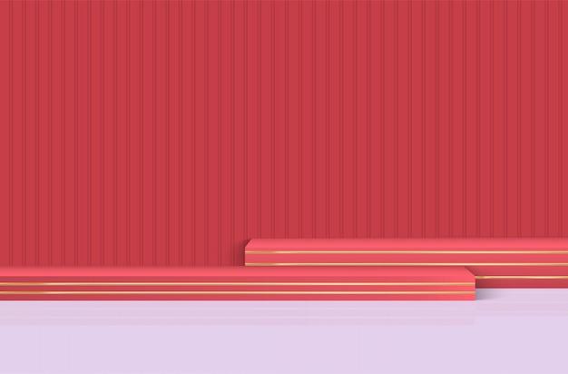 Этап, подиум для церемонии награждения на красном фоне. Premium векторы