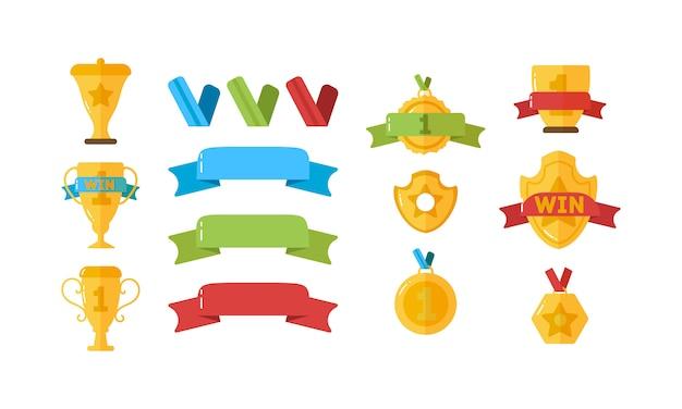 Награда для победителей. золотые кубки, медали и другие спортивные кубки для победителей в плоском дизайне. набор золотых наград иконы успеха и победы с трофеями, звездами, кубками, лентами, медалями. Premium векторы