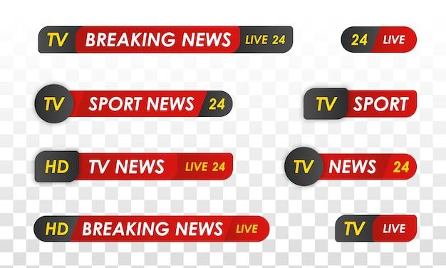 テレビニュースバー。スポーツニュース。テレビ放送メディア。 Premiumベクター