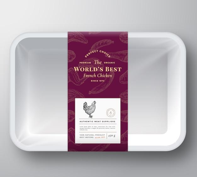 Контейнер пластиковый лоток для мяса птицы Premium векторы