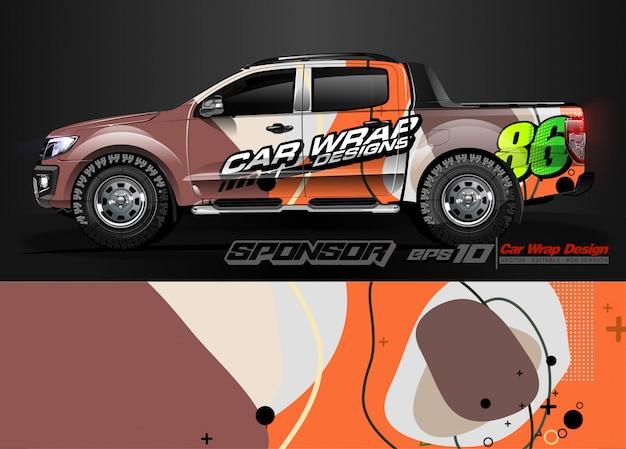 Автомобильная упаковка графических гоночных абстрактных полос и фон для автомобильной упаковки и виниловой наклейки - вектор Premium векторы