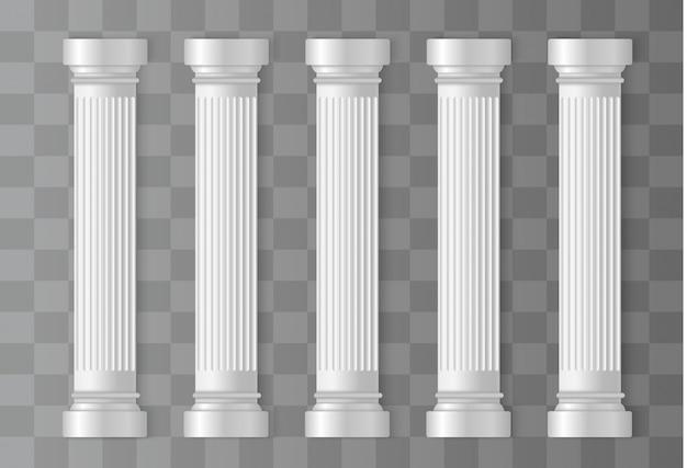 Античные белые колонны. римская, греческая колонна, архитектура Premium векторы