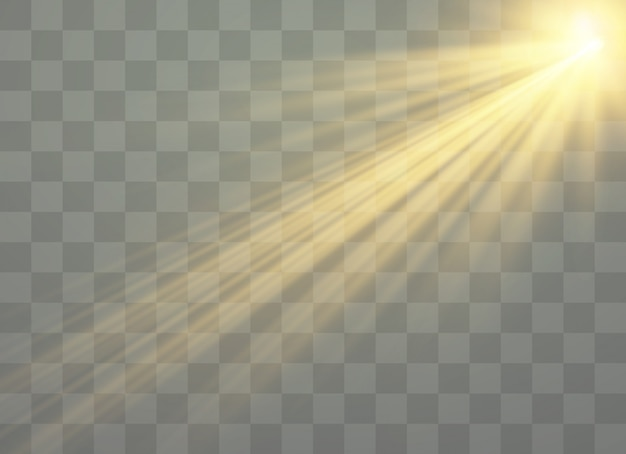 Лучи света и волшебные искры, блеск, искра, солнечная вспышка Premium векторы
