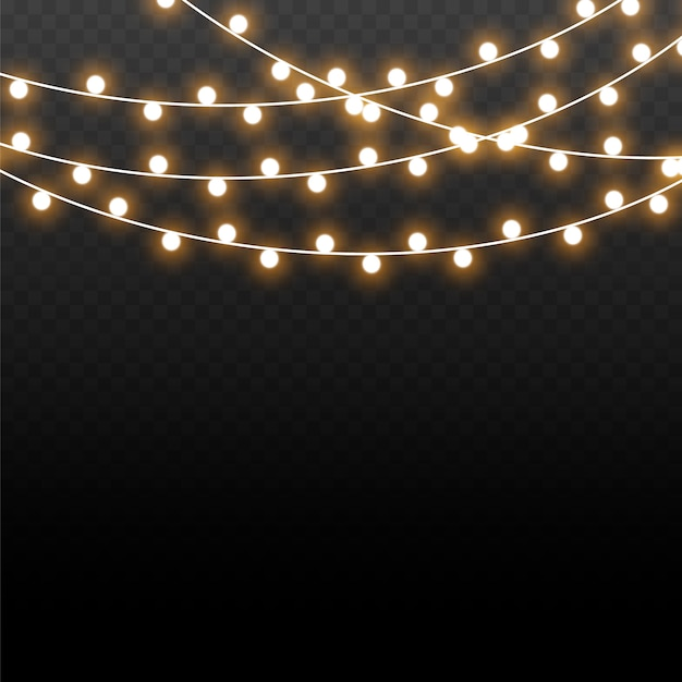 Рождественские огни, изолированные на прозрачном фоне. рождественские светящиеся гирлянды. векторная иллюстрация Premium векторы
