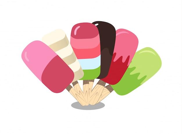 Коллекция мороженого. красивый красочный набор. иллюстрация для интернета или печати. Premium векторы