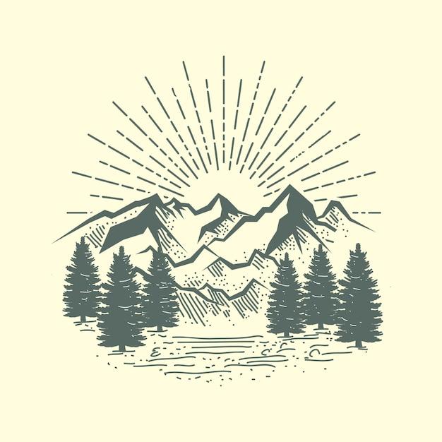 Иллюстрация горы и леса Premium векторы