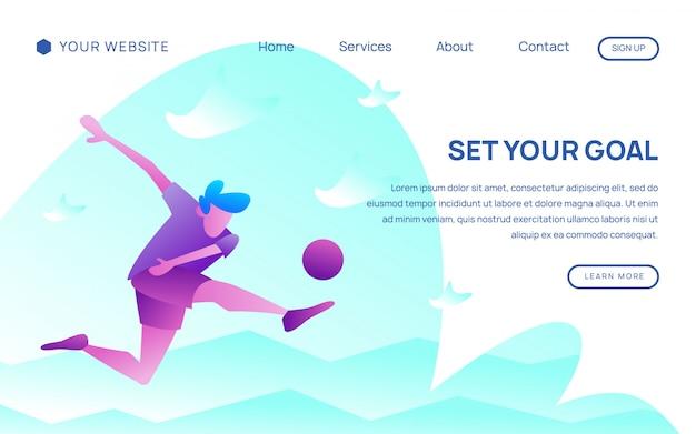 フットボール選手のランディングページテンプレート Premiumベクター