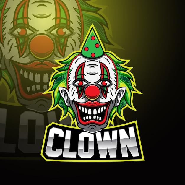Клоун киберспорт талисман логотип Premium векторы