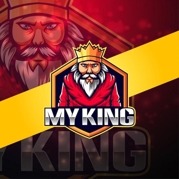 Мой король киберспорт дизайн логотипа талисмана Premium векторы