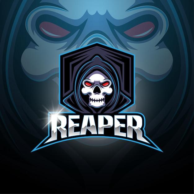 Жнец киберспорт талисман логотип Premium векторы