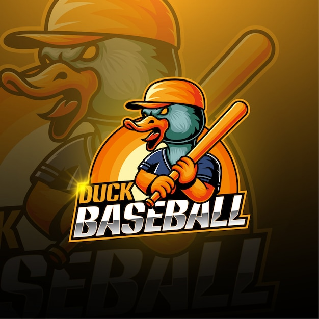 Логотип талисмана бейсбольной утки Premium векторы