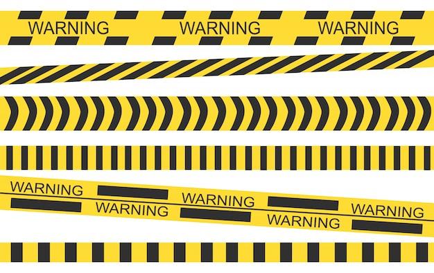 Полицейская черная желтая лента. барьерная лента на месте преступления. Premium векторы