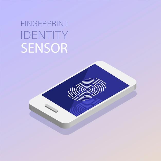 Идентификация сканирования отпечатков пальцев в мобильном телефоне. отпечаток пальца или персональный идентификатор, уникальный биометрический датчик идентификации. технология биометрического сканирования. Premium векторы