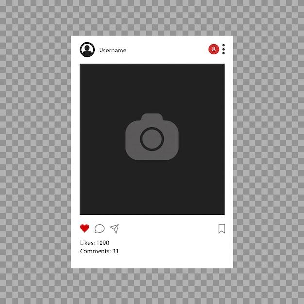 ソーシャルネットワークのモックアップ。モバイルアプリのインターフェイステンプレート。フラットなデザインの写真またはビデオフレームフレーム Premiumベクター