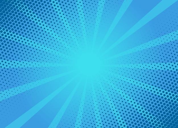 レトロな漫画青い背景レイアウトテンプレート。典型的な漫画本のイラスト。 Premiumベクター
