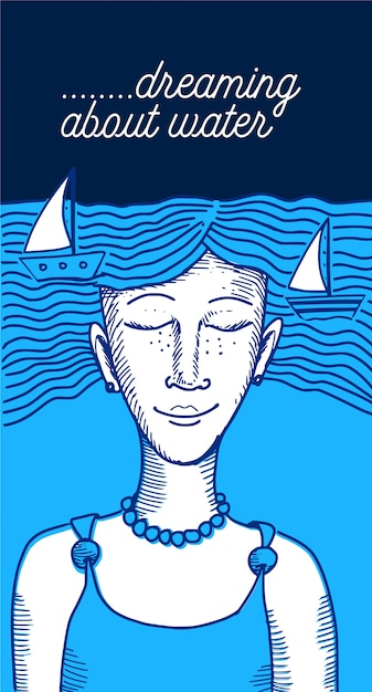 水ベクトルについて夢を見る Premiumベクター