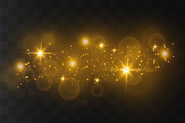 Белые искры и золотые звезды сверкают особым световым эффектом Premium векторы