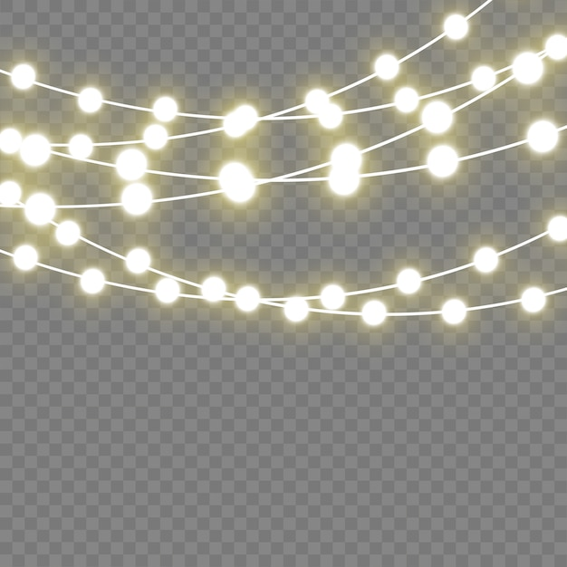 Рождественские светящиеся огни на праздник. светодиодная неоновая лампа. Premium векторы
