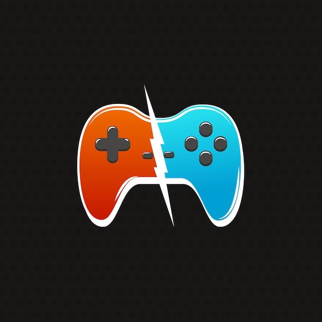 Киберспорт против боевого логотипа. два геймпада с изображением молнии Premium векторы