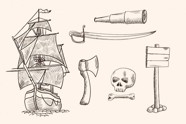 Старый парусный корабль и пиратские предметы. простой ручной рисунок. Premium векторы
