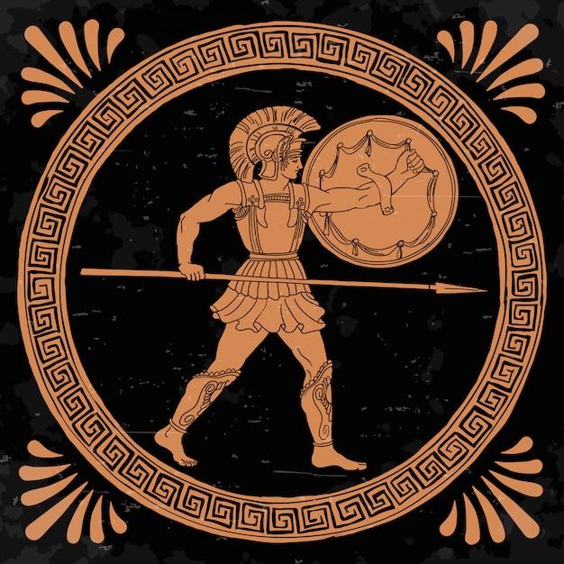 槍と盾を手にした古代ギリシャの戦士は、攻撃の準備ができています。 Premiumベクター