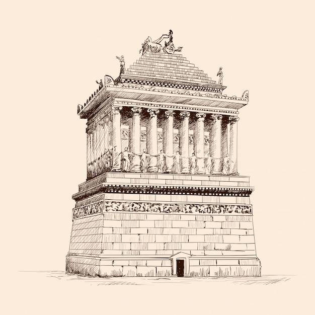 Мавзолей с колоннами в галикарнасе. карандашный рисунок на бежевом фоне. Premium векторы