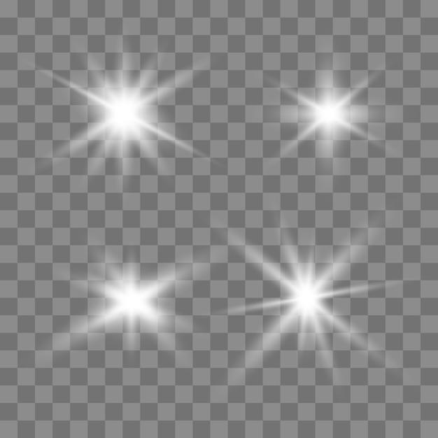 Светящиеся огни эффект, вспышка, взрыв и звезды. Premium векторы