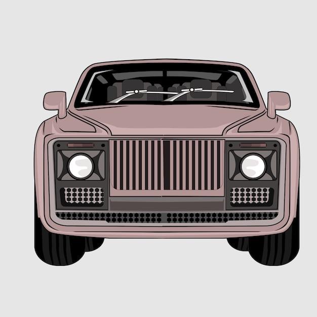 Иллюстрация автомобиль импала классик ретро винтаж Premium векторы