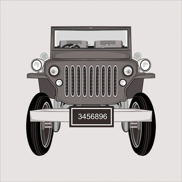 Мультфильм иллюстрация джип ретро классика Premium векторы