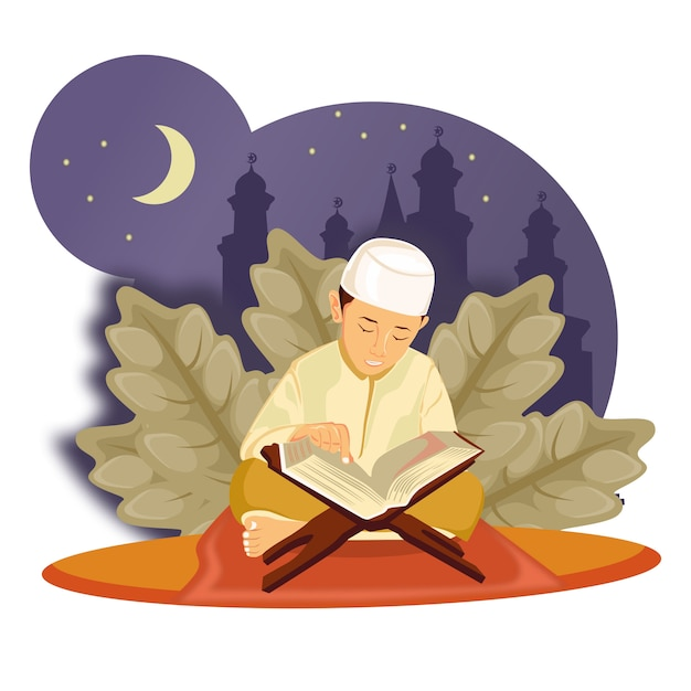 ラマダン、性格、小さな子供がクルアーンのイラストを読む Premiumベクター