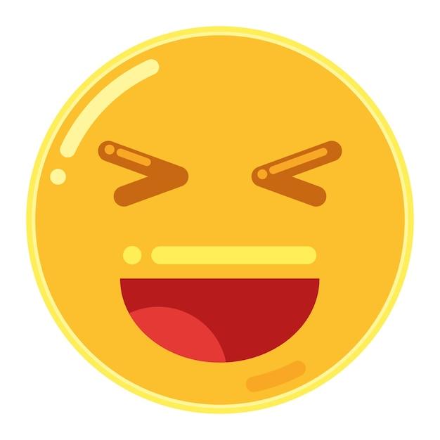 開いた口と閉じた目で笑顔顔文字 Premiumベクター