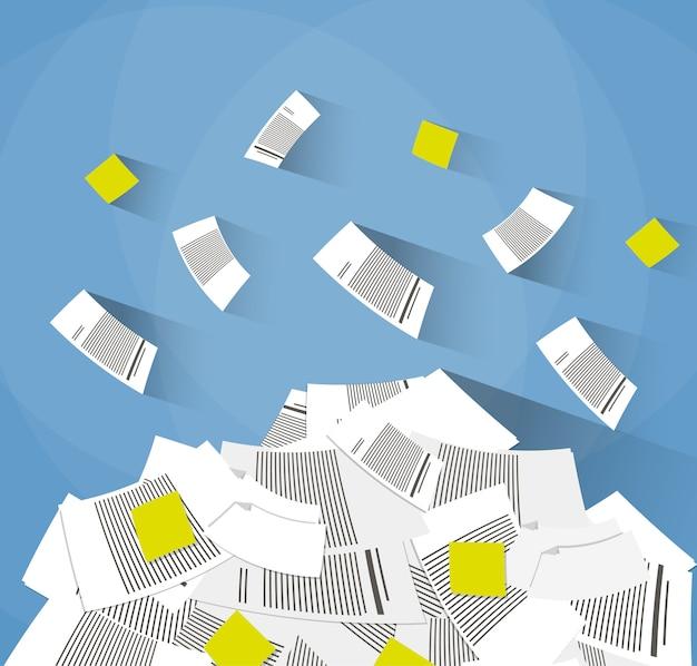 オフィス書類の山 Premiumベクター