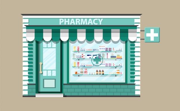 Современная внешняя аптека или аптека. Premium векторы